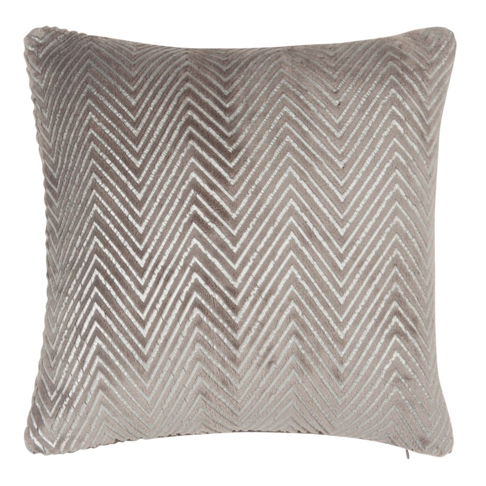 Coussin motifs chevrons taupe 40x40