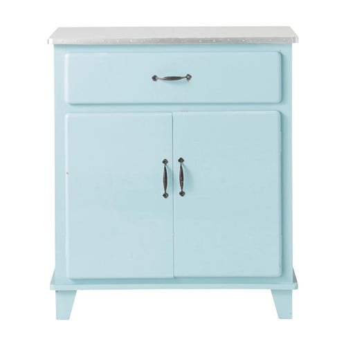 credenza blu da cucina vintage in legno l 73 cm kitchen maisons du monde. Black Bedroom Furniture Sets. Home Design Ideas