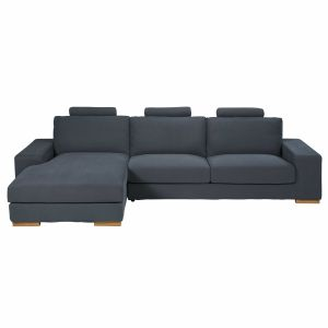 Dark grey 5-seater fabric left hand corner sofa