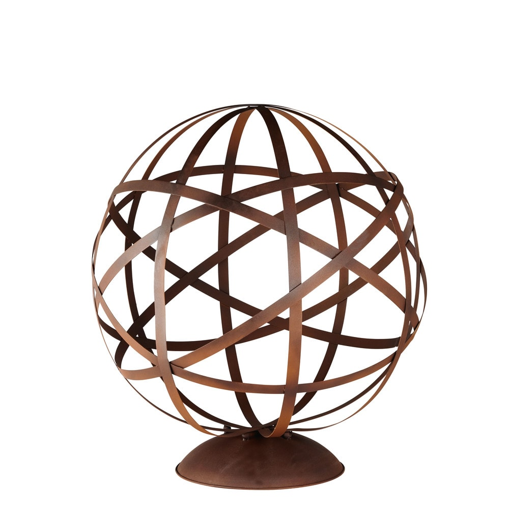 Déco de jardin globe en métal marron H78 (photo)