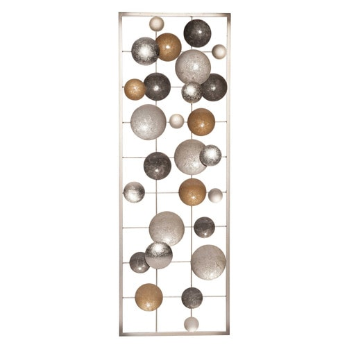 D co murale en m tal dor et argent 31x90cm babel for Decoration murale en metal