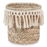 white cotton and plant fibre basket
