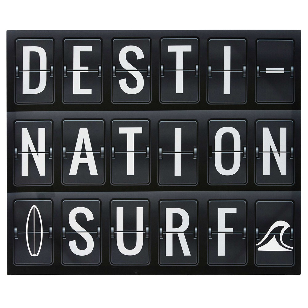 DESTINATION SURFING Printed Black and White Canvas