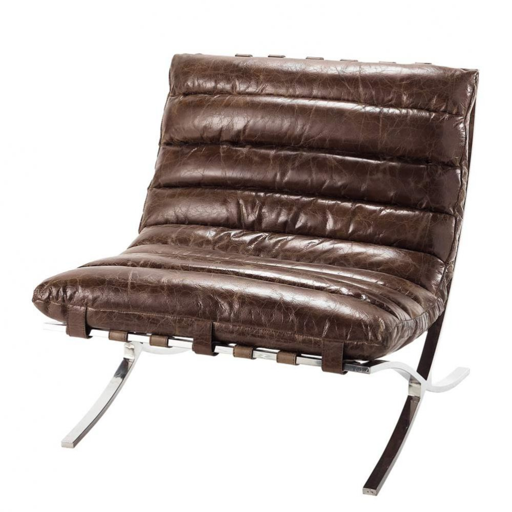 Distressed Brown Leather Armchair. Beaubourg