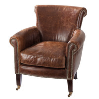 Distressed brown leather armchair Cambridge