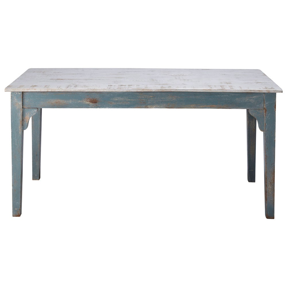 Distressed mango wood dining table in grey blue W 160cm