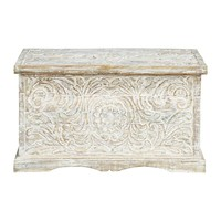 Distressed solid mango wood carved Indian chest in white W 79cm Masala