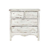 Distressed wood chest of drawers in white W 77cm Castillon
