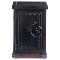 Distressed wood safe cabinet in black W 53cm Bank