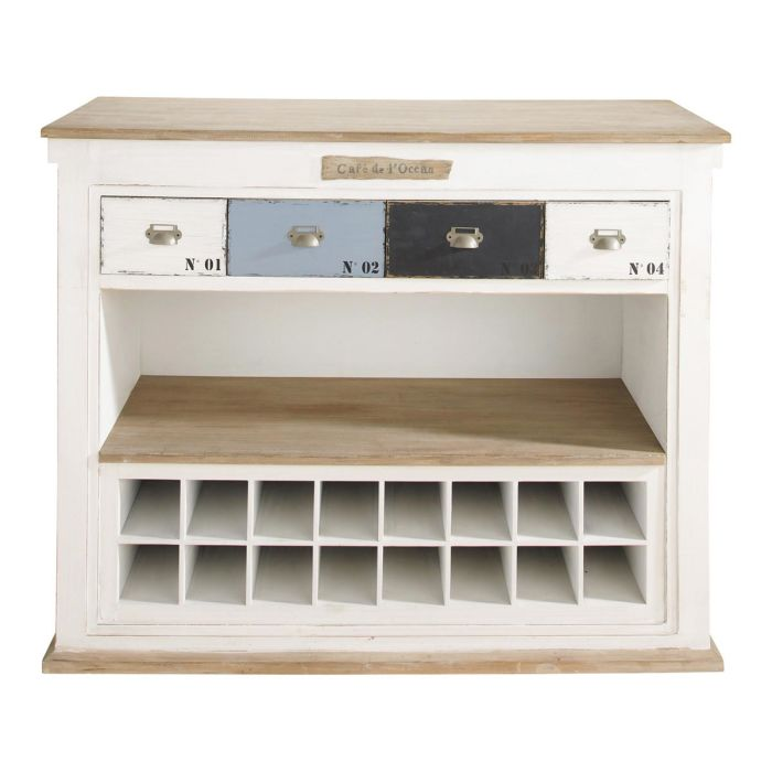 Maison Du Monde Mobili.Distressed Wooden Bar Unit With Drawers In White W129