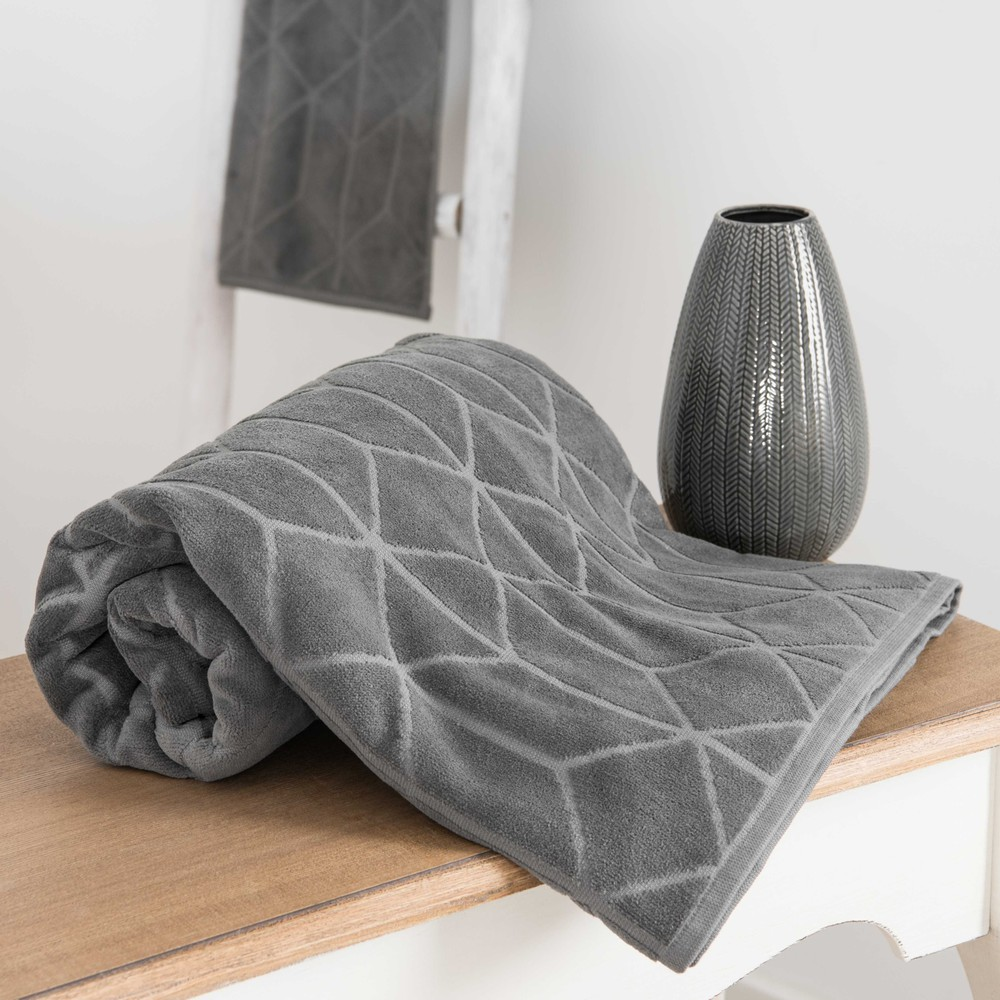 Drap de bain en coton anthracite à motifs 100x150 OP ART (photo)
