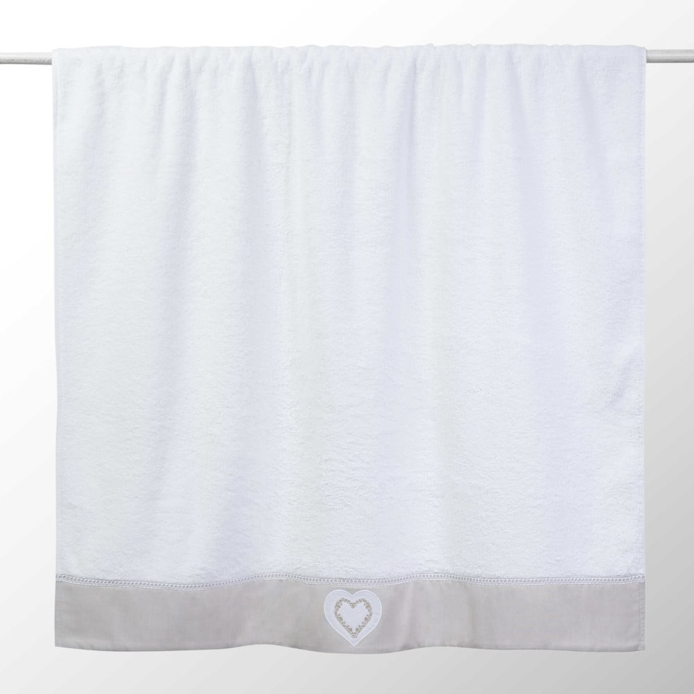 Drap de bain en coton blanc 100x150 HEART (photo)