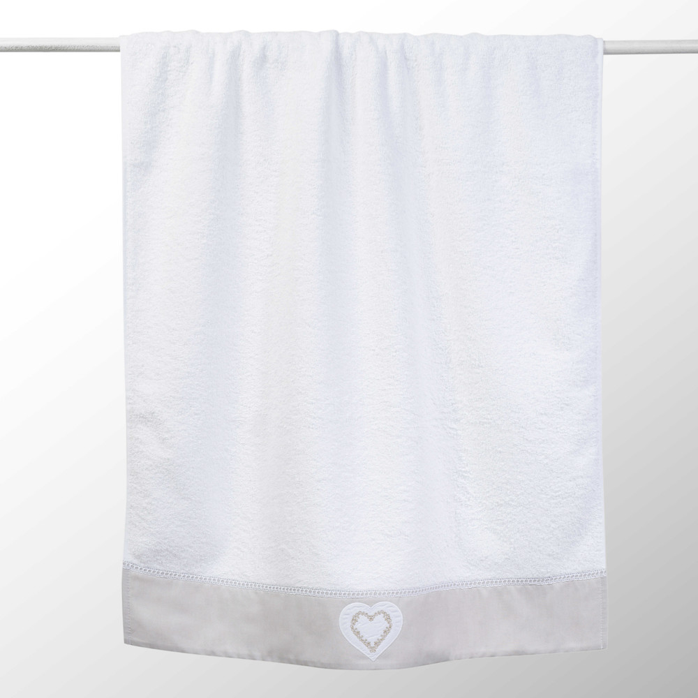 Drap de bain en coton blanc 70x140 HEART (photo)