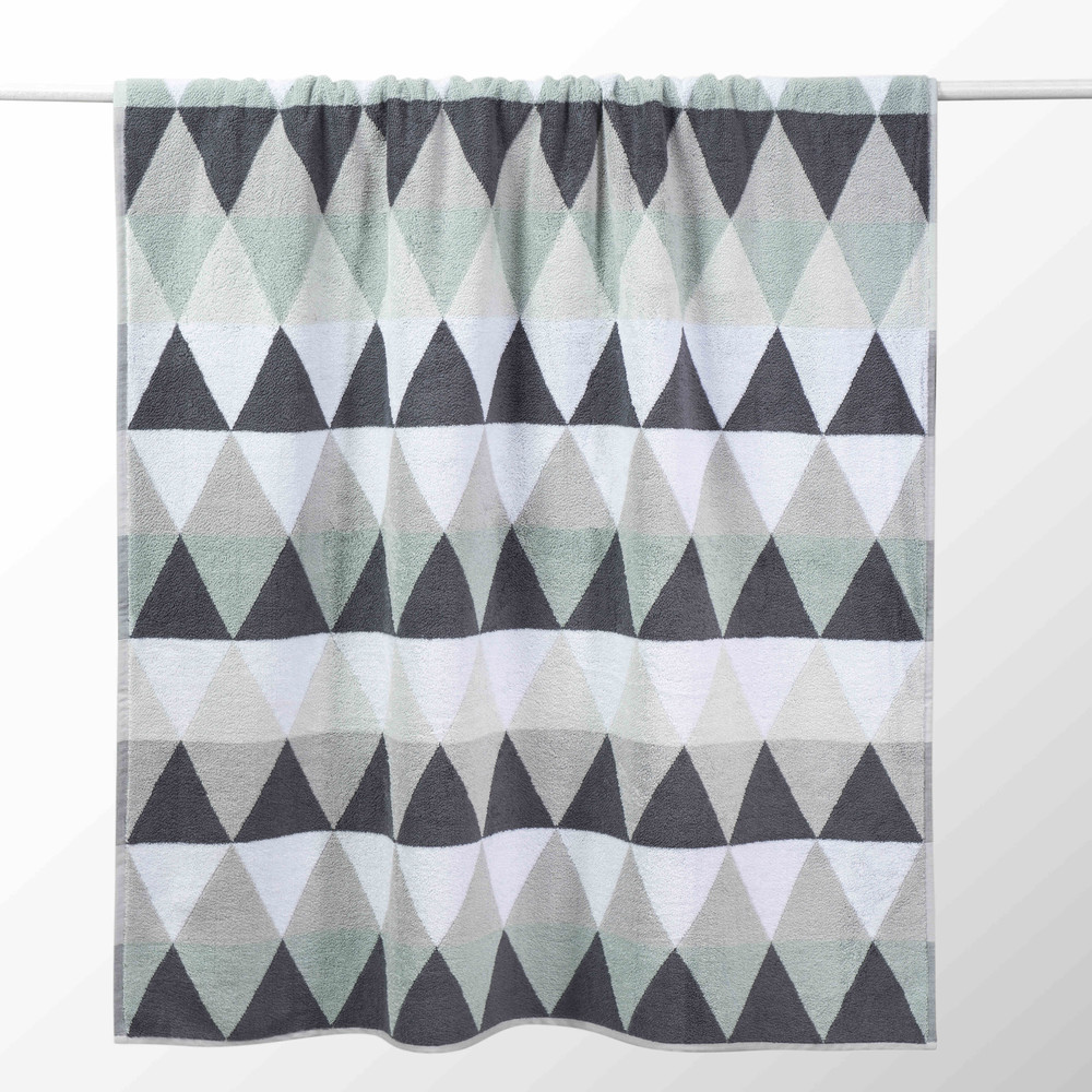 Drap de bain en coton blanche/grise 100x150 TRIANGLE (photo)