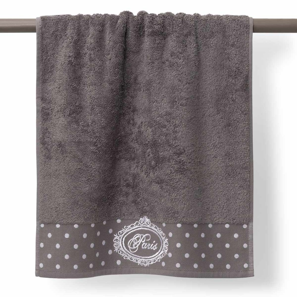 Drap de bain en coton gris 70x140 PARIS (photo)