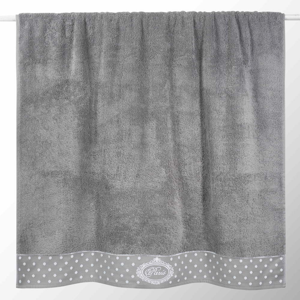 Drap de bain en coton grise 100x150 PARIS (photo)