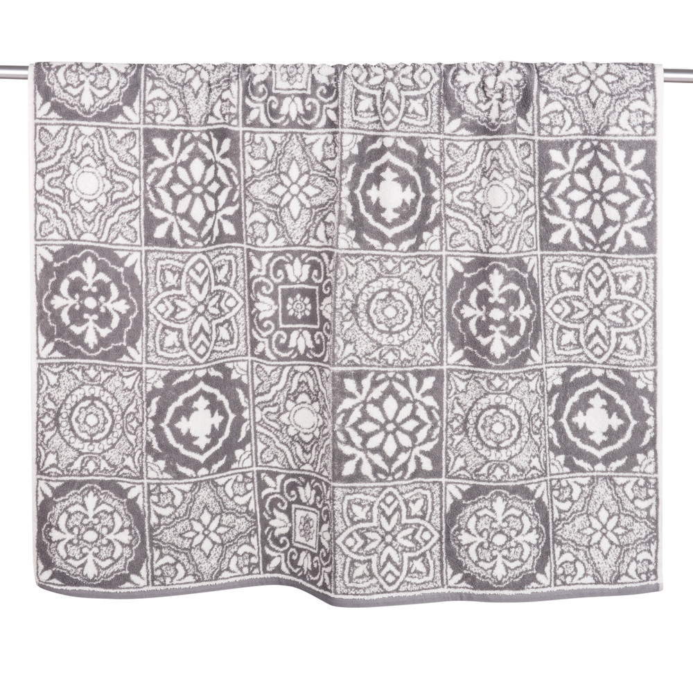 Drap de bain en coton motifs carreaux de ciment 100x150 (photo)