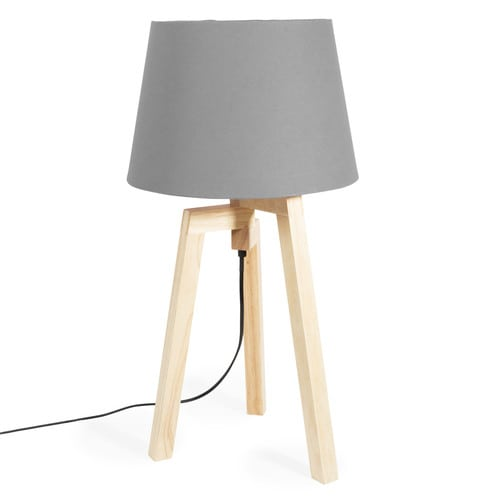 dreibeinige lampe aus holz mit lampenschirm aus stoff grau maisons du monde. Black Bedroom Furniture Sets. Home Design Ideas
