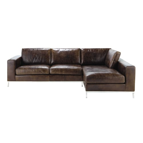 ecksofa 4 sitzer im vintage stil aus leder braun jack maisons du monde. Black Bedroom Furniture Sets. Home Design Ideas