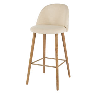 Ecru Vintage Bar Chair with Solid Ash
