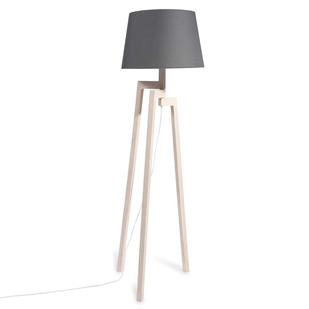 ESCALE Rubber tree wood tripod floor lamp with navy shade