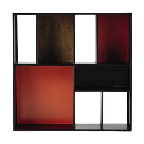 tag re murale en m tal noire orange l 85 cm arty maisons du monde. Black Bedroom Furniture Sets. Home Design Ideas