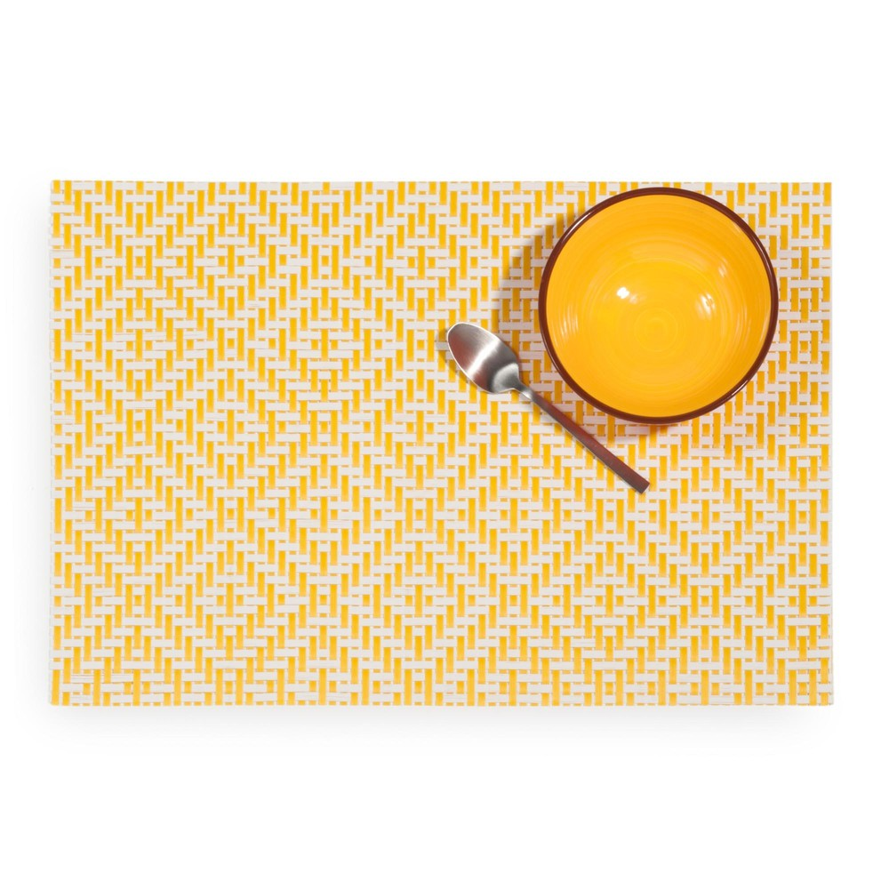 ETHNO white table mat with yellow motifs