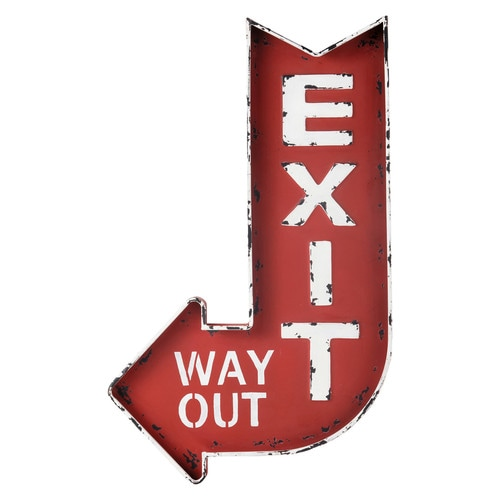 EXIT metal wall sign in red H 81cm