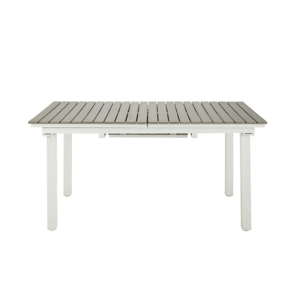 Extending garden table in imitation wood composite and aluminium W 157cm