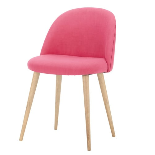 Fabric and solid birch vintage chair in fuchsia Mauricette | Maisons du Monde