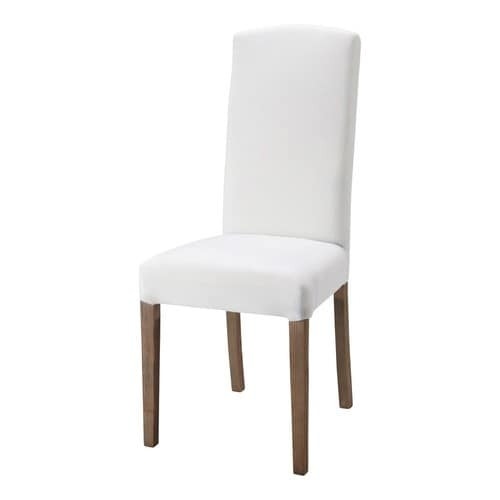 Fabric and wood chair in white alice maisons du monde for Chaise de jardin blanche