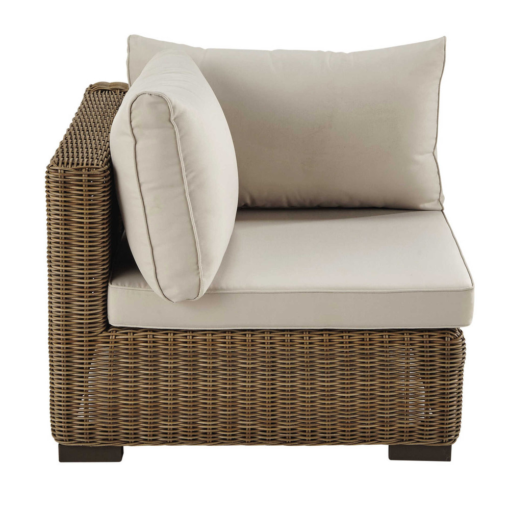Fabric garden sofa corner unit in wicker beige