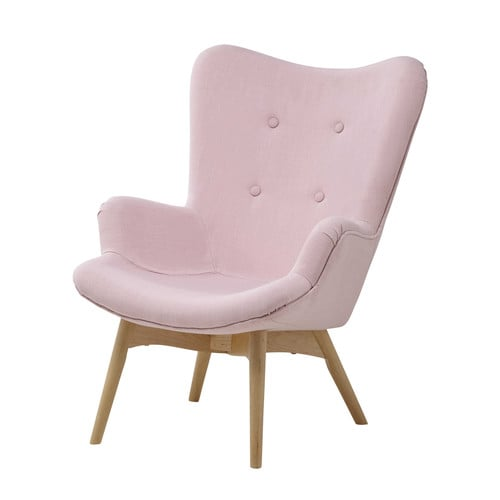 Fabric vintage child 39 s armchair in pink iceberg maisons - Chaise rose maison du monde ...