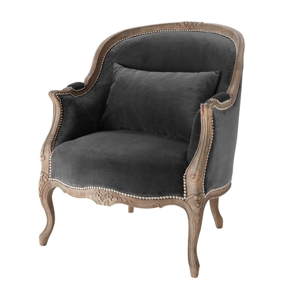 Fauteuil bergère en velours gris anthracite Montpensier (photo)