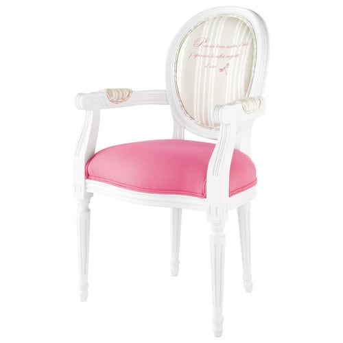 fauteuil cabriolet en bois blanc et coton rose louis maisons du monde. Black Bedroom Furniture Sets. Home Design Ideas