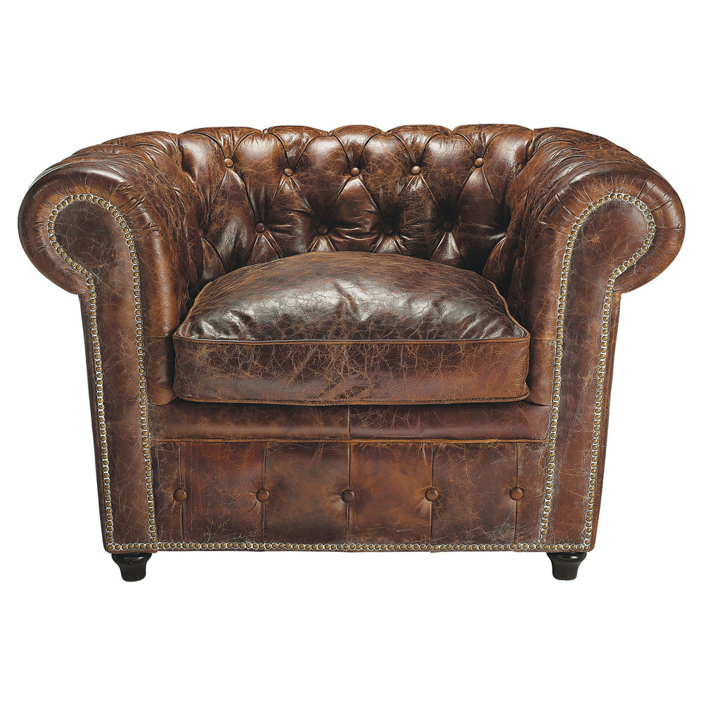 Fauteuil capitonné en cuir marron Chesterfield (photo)
