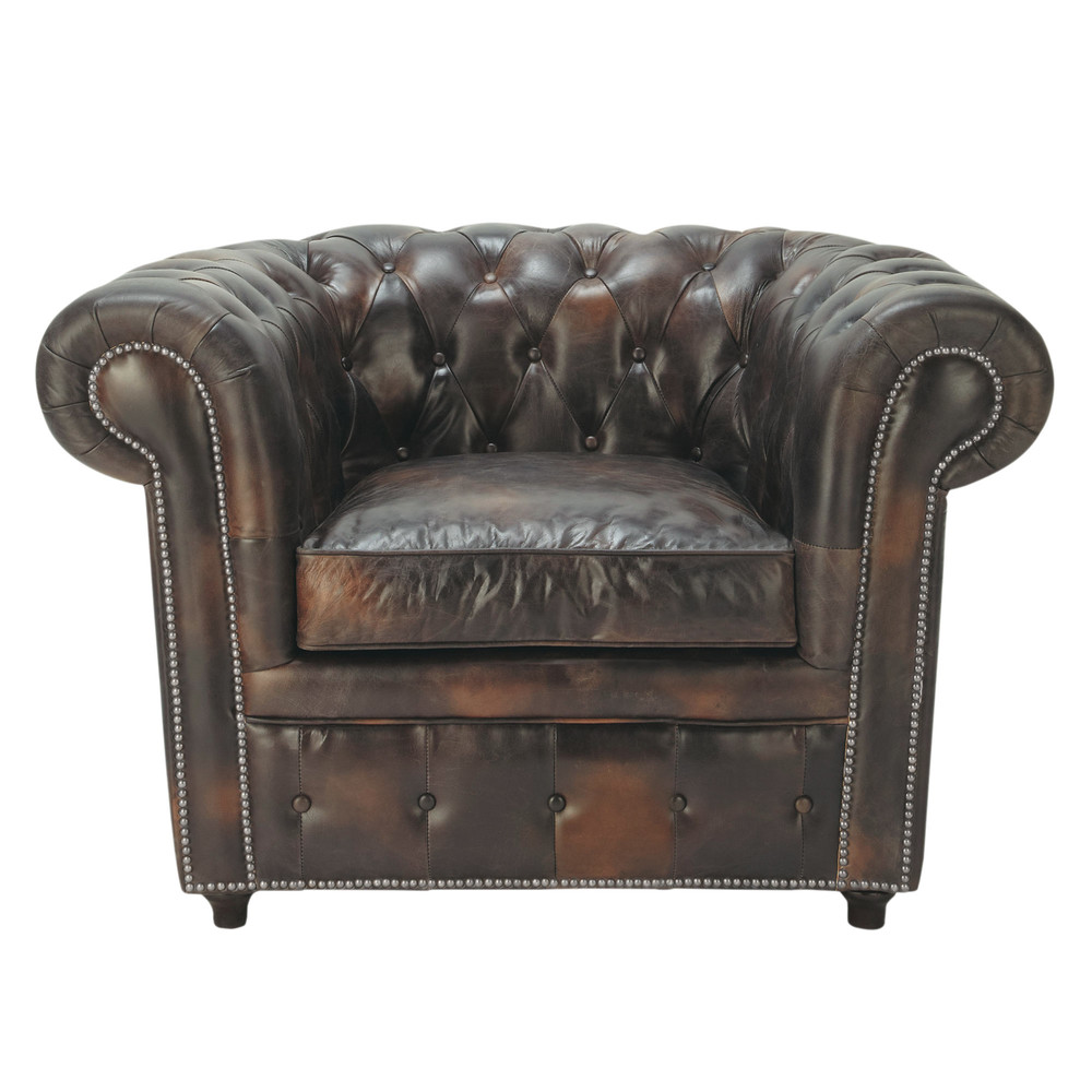 Fauteuil capitonné en cuir moka Chesterfield (photo)