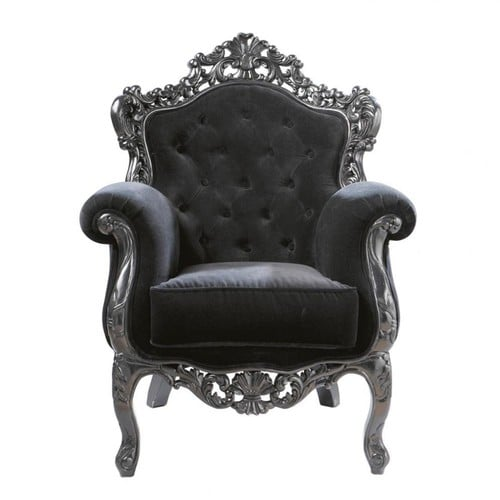 fauteuil capitonn en velours noir barocco maisons du monde. Black Bedroom Furniture Sets. Home Design Ideas