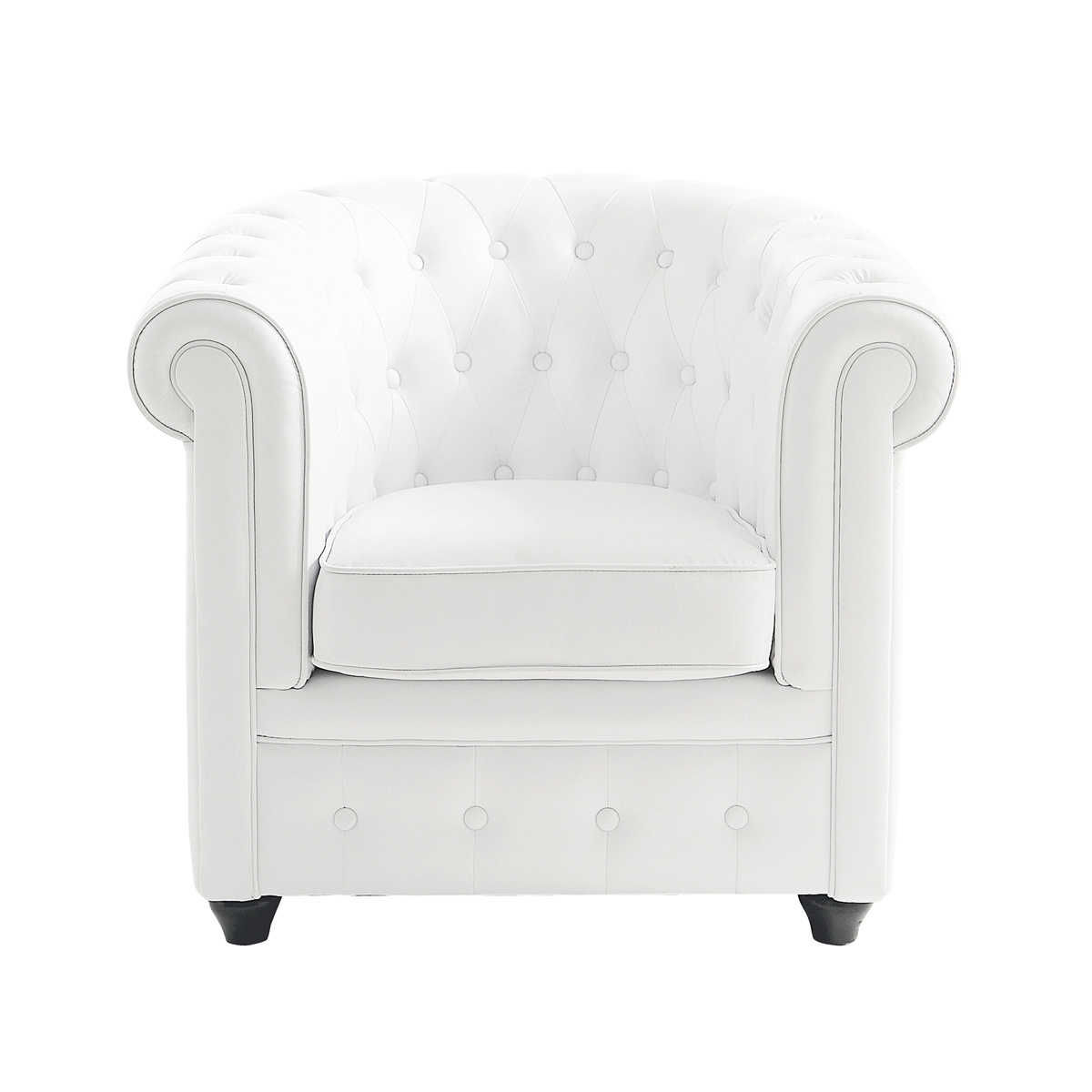 fauteuil club capitonn blanc maisons du monde. Black Bedroom Furniture Sets. Home Design Ideas