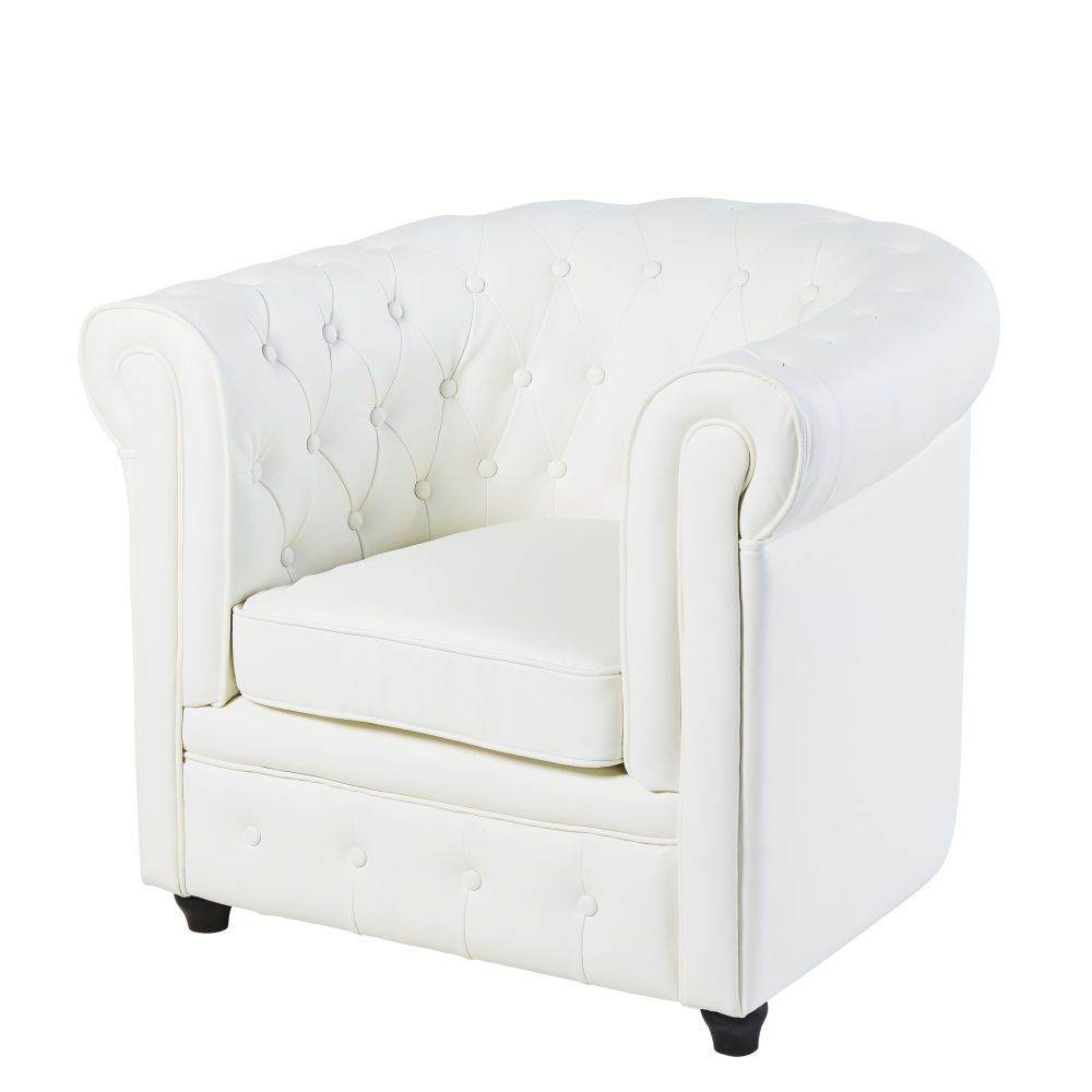 Fauteuil club capitonné blanc Chesterfield (photo)