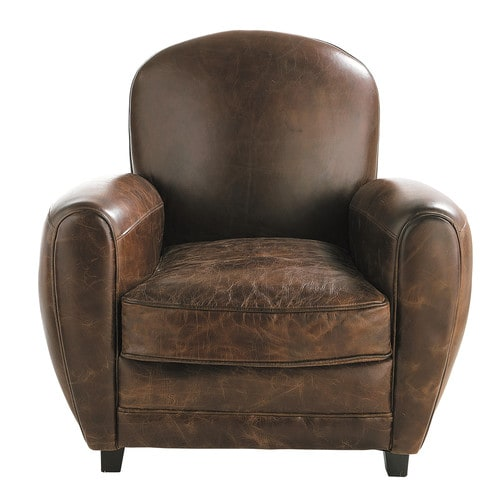 fauteuil club en cuir marron oxford maisons du monde. Black Bedroom Furniture Sets. Home Design Ideas
