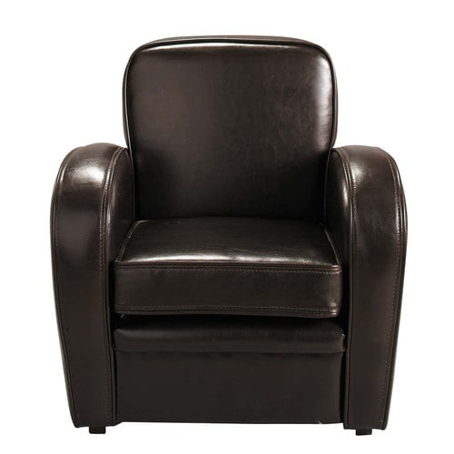 fauteuil club enfant imitation cuir marron teddy maisons du monde. Black Bedroom Furniture Sets. Home Design Ideas