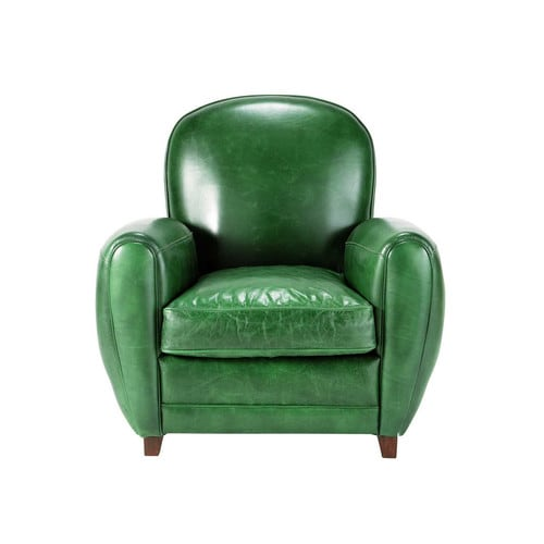 fauteuil cuir vert vintage oxford maisons du monde. Black Bedroom Furniture Sets. Home Design Ideas