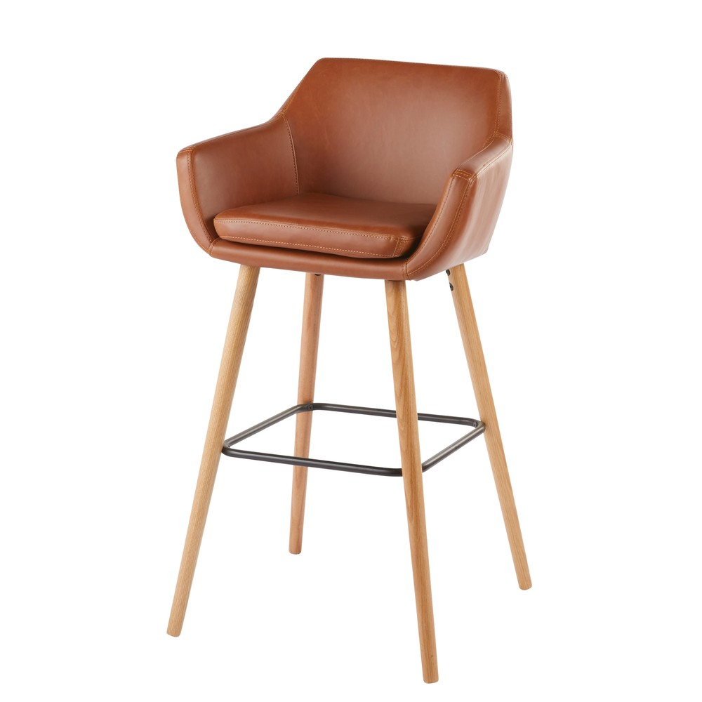 Fauteuil de bar vintage marron Davis (photo)