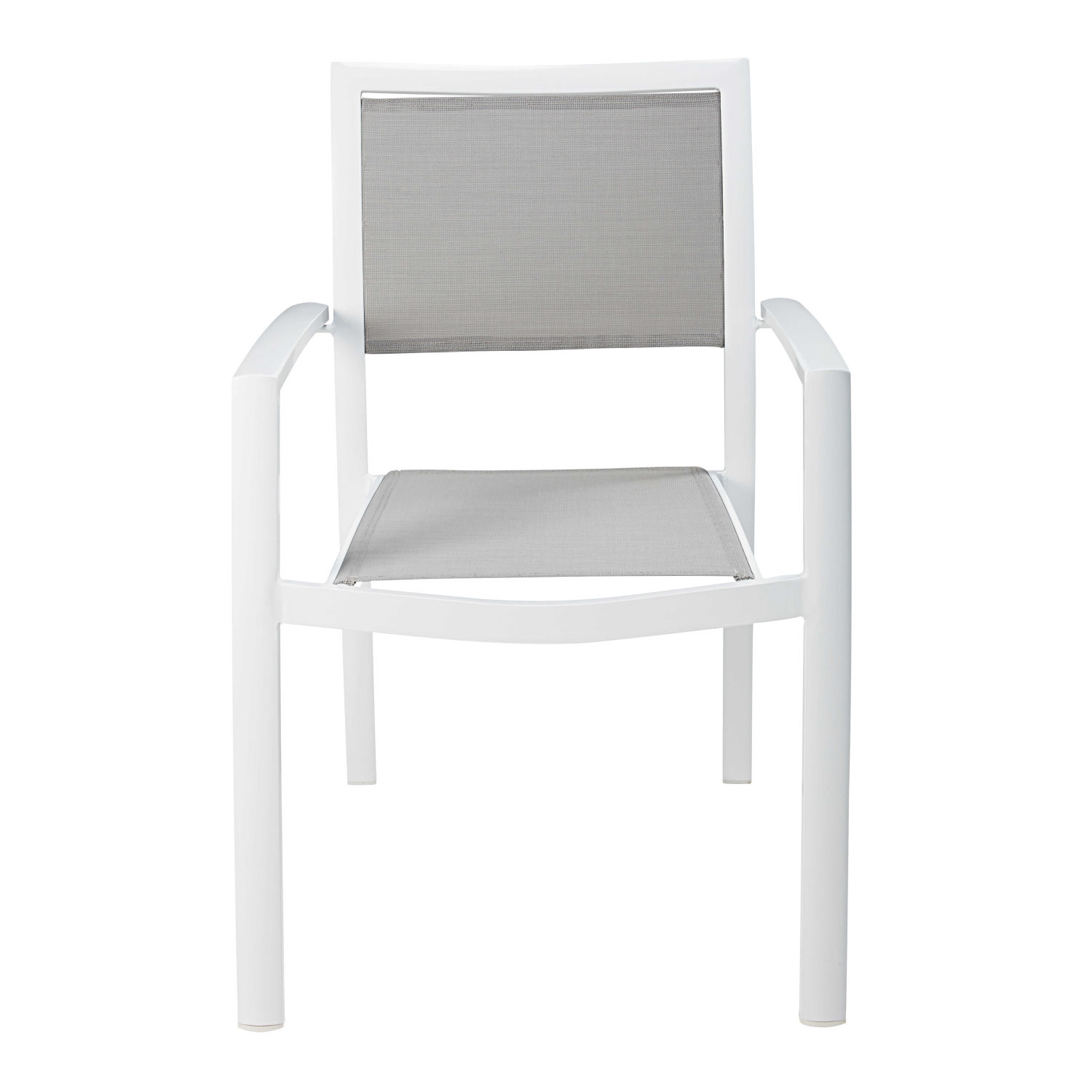 fauteuil de jardin en aluminium blanc et toile plastifi e gris clair maisons du monde. Black Bedroom Furniture Sets. Home Design Ideas