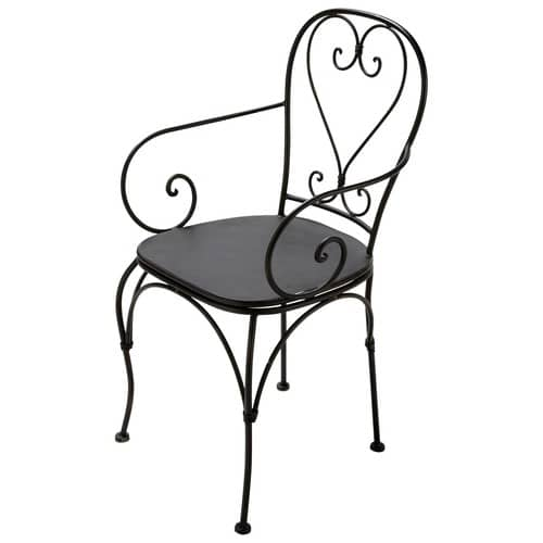 fauteuil de jardin en fer forg brun fonc st germain. Black Bedroom Furniture Sets. Home Design Ideas