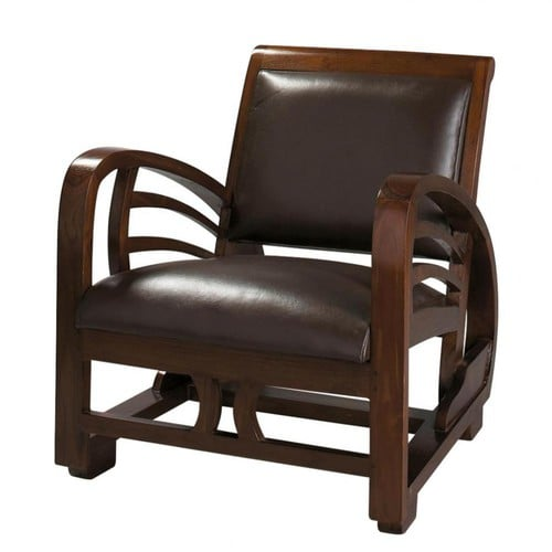 fauteuil en cro te de cuir marron charleston maisons du. Black Bedroom Furniture Sets. Home Design Ideas