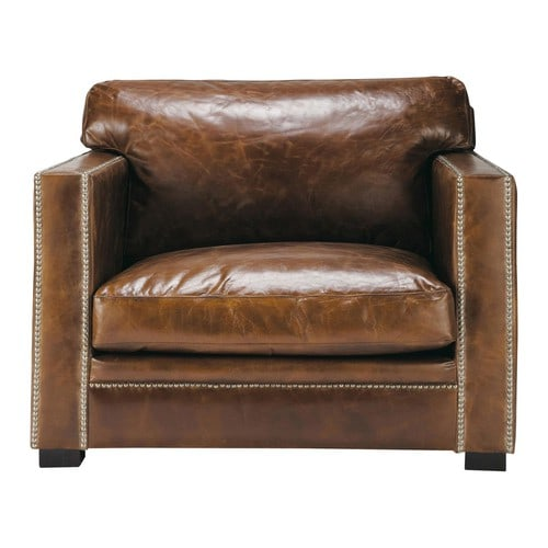 fauteuil en cuir marron dandy maisons du monde. Black Bedroom Furniture Sets. Home Design Ideas
