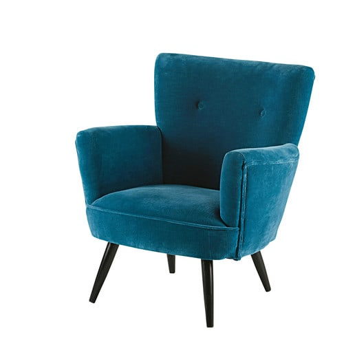 fauteuil en velours bleu et manguier sao paulo maisons du monde. Black Bedroom Furniture Sets. Home Design Ideas