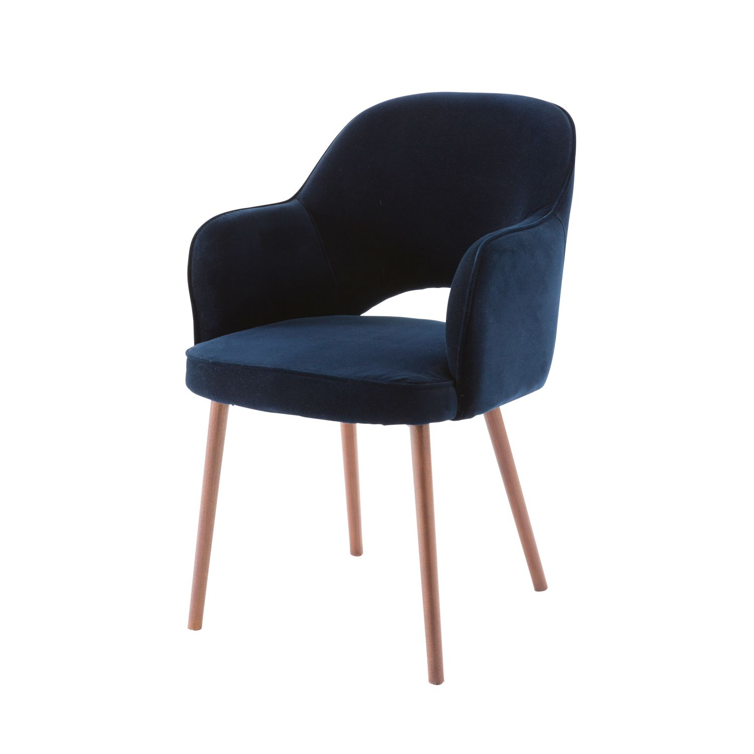 fauteuil en velours bleu nuit maisons du monde. Black Bedroom Furniture Sets. Home Design Ideas